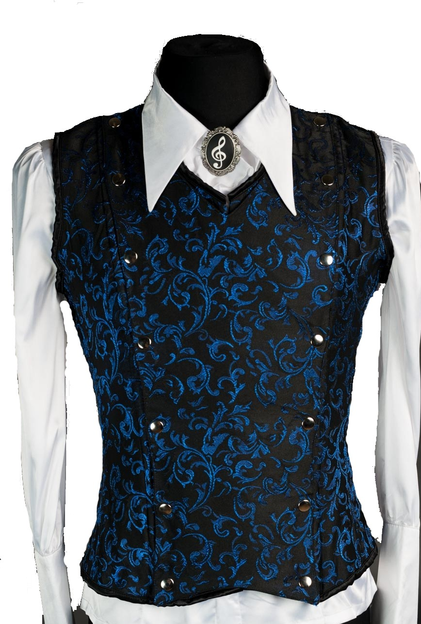 Blaues Brokat Herren Korsett