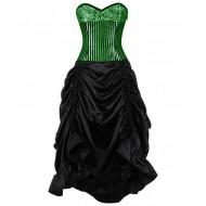 Grün-schwarzes Korsettkleid