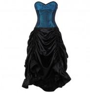 Blau-schwarzes Korsettkleid Gr. M
