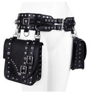 Schwarzer Gürtel mit Satteltaschen